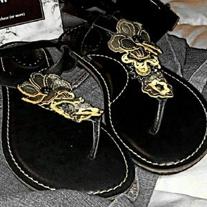 FOSSIL BLACK LEATHER SANDALS 7